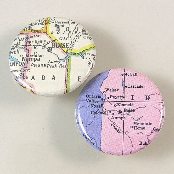 Boise Map Pinback Buttons by XOHandworks $3