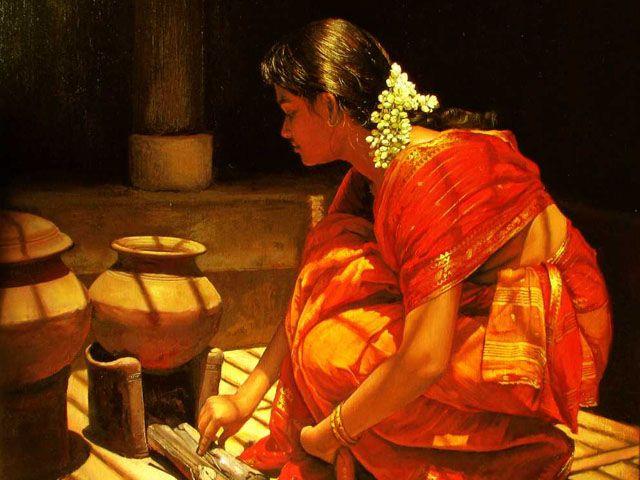 Tamil girl cooking - Painting by S. Elayaraja