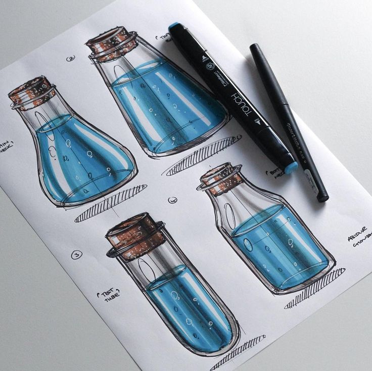 Really quick cork vials/flasks filled with water. A really fun, simple and quick exercise if you want to try it!   #industrialdesign #id #idsketching #instasketch #instadesign #design #designer #diseño #productdesign #vial #glass #bottle #water #cork #marker #render