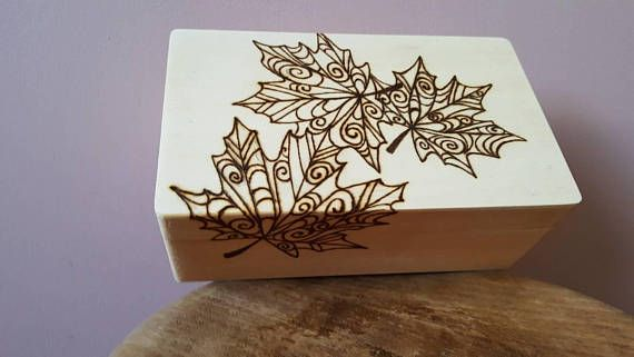 Check out this item in my Etsy shop https://www.etsy.com/uk/listing/569762885/wood-burnt-box-autumn-leaf-tribal-stash