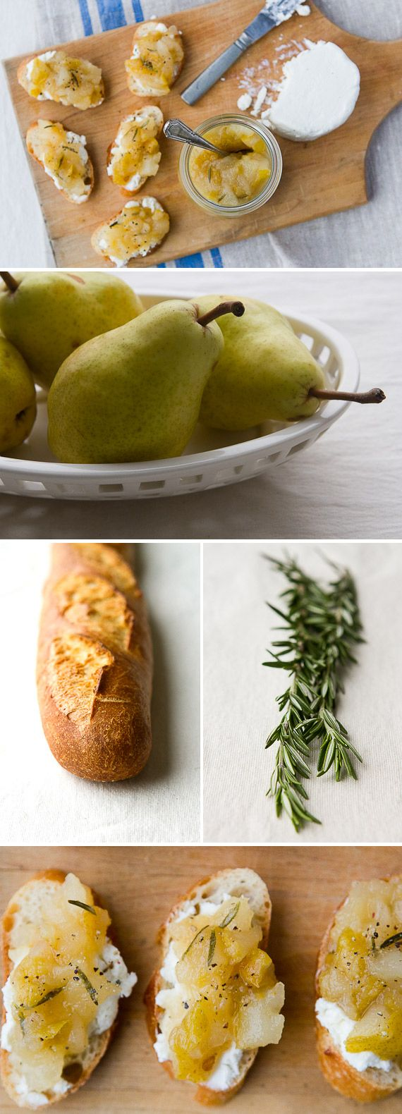 : Pear and Rosemary Crostini With Goat Cheese | Goat Cheese, Goats ...