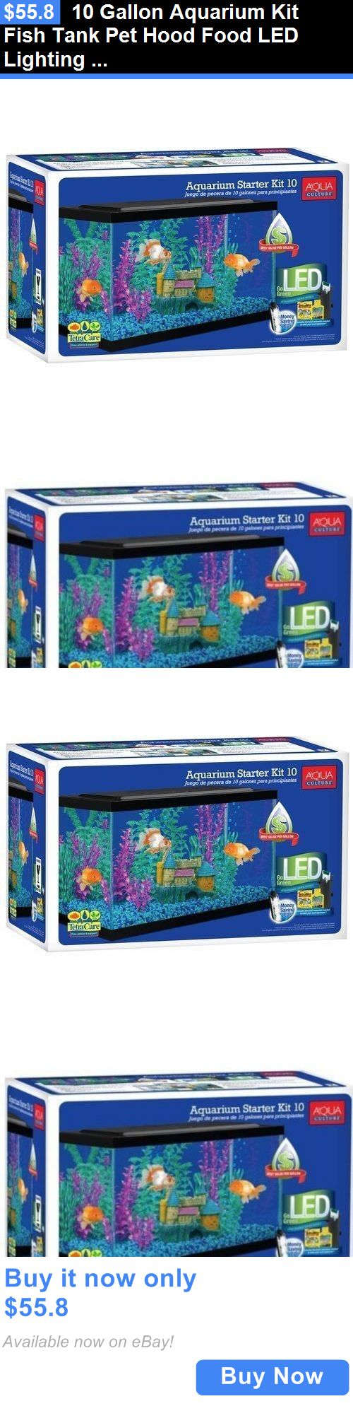 Aquarium fish tank starter kit - Animals Fish And Aquariums 10 Gallon Aquarium Kit Fish Tank Pet Hood Food Led Lighting