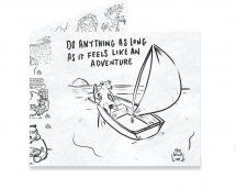 Dynomighty Artist Collective: Feels Like An Adventure by ajbis Do anything as long as it feel like an adventure ⛵️#mightywallet #wallet #tyvek #adventure #dog #boat #sail #sunset #design #comic #cartoon #thebluelimb #giftideas