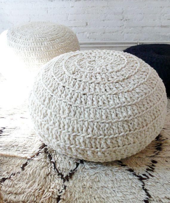 Pouf uncinetto lana naturale undyed di lacasadecoto su Etsy
