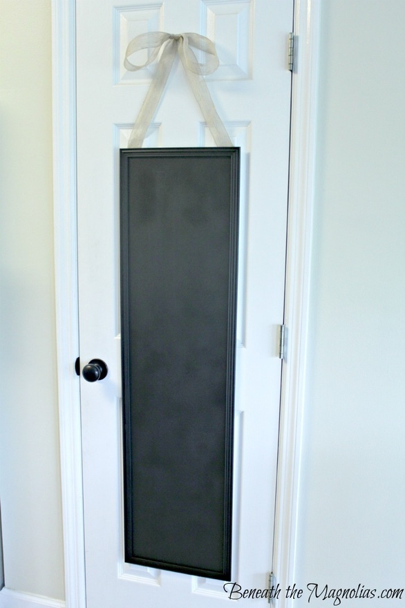 $5 mirror spray painted with chalkboard paint and hung on pantry door. LOVE this idea