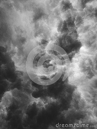 Black white storm clouds in summer season