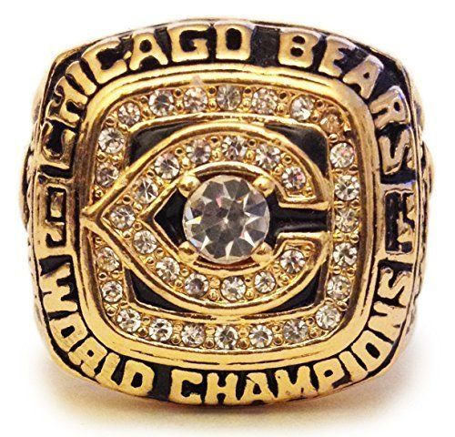 Chicago Bears 1985 Championship Ring - Walter Payton Replica - Cool Super Bowl Memorabilia or Great Gift!  1985 Chicago Bears Super Bowl Ring; Walter Peyton Replica  Size 11 Mens; Can be worn or displayed; Made of 100% leaf free zinc alloy  Great Item for a Chicago Bears Fan