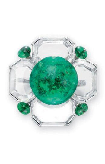 Viren Bhagat. Emerald, platinum & diamond ring...♡