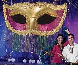 Hang this festive Mardi Gras Fringe Mask at your next Mardi Gras Bash! This Mardi Gras Fringe Mask is 7 ft. 2 in. long.