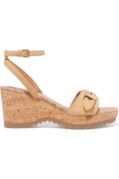 Stella McCartney - Faux Leather Wedge Sandals - Beige