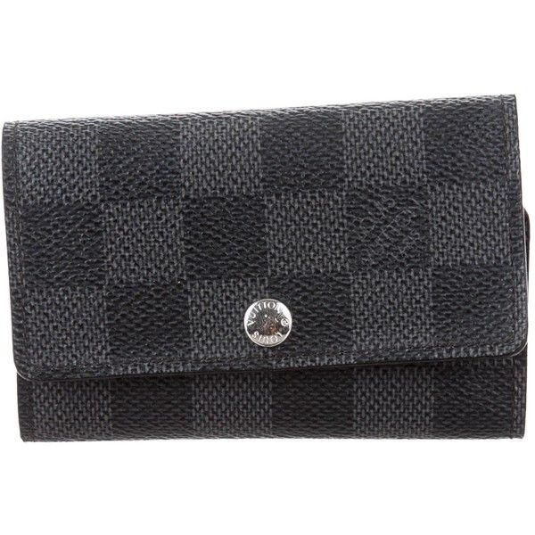 Pre-owned Louis Vuitton Damier Graphite Wallet ($225) ❤ liked on Polyvore featuring men's fashion, men's bags, men's wallets, grey, louis vuitton mens wallet and mens wallet