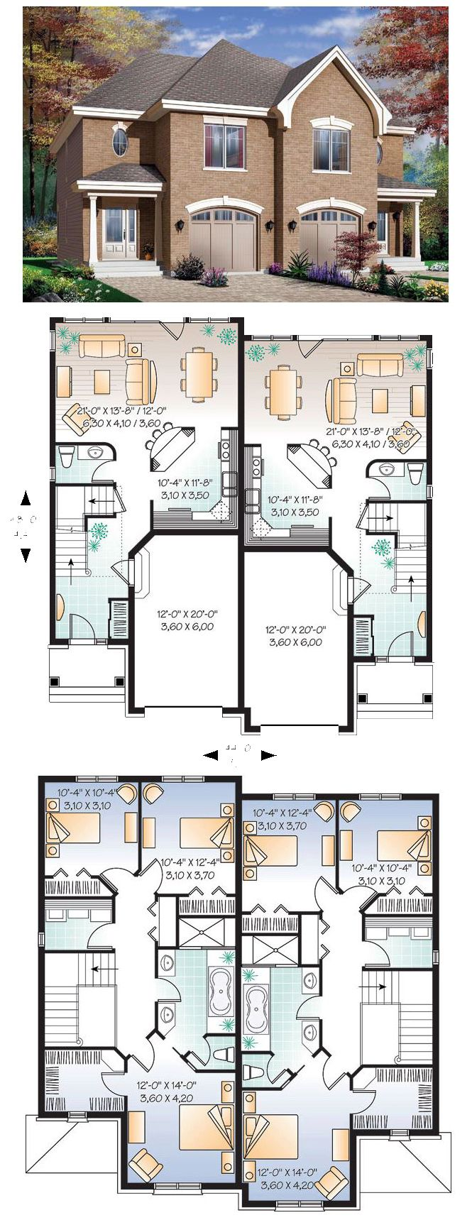 #MultiFamily Plan 65339 has plenty of room for two families at 3188 total sq. ft. Each unit has three bedrooms and 1.5 bathrooms.