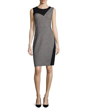Carmen Sleeveless Two-Tone Sheath Dress, Black by Elie Tahari at Neiman Marcus.