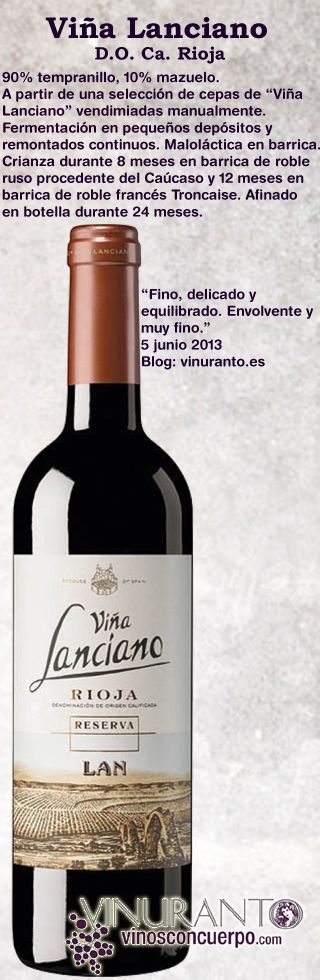 """Vino reserva de Rioja, con las mejores uvas de """"Viña Lanciano"""". Muy especial y cuidado, criado en barricas del Caúcaso y francesas de Troncaise. This is a Vintage wine """"Reserva"""" kind made from the best grapes harvested at """"Viña Lanciano"""". This is a very special wine made with love and aged in Caucasian and Troncaise barrels. --- Click the photo for futher information & buy."""