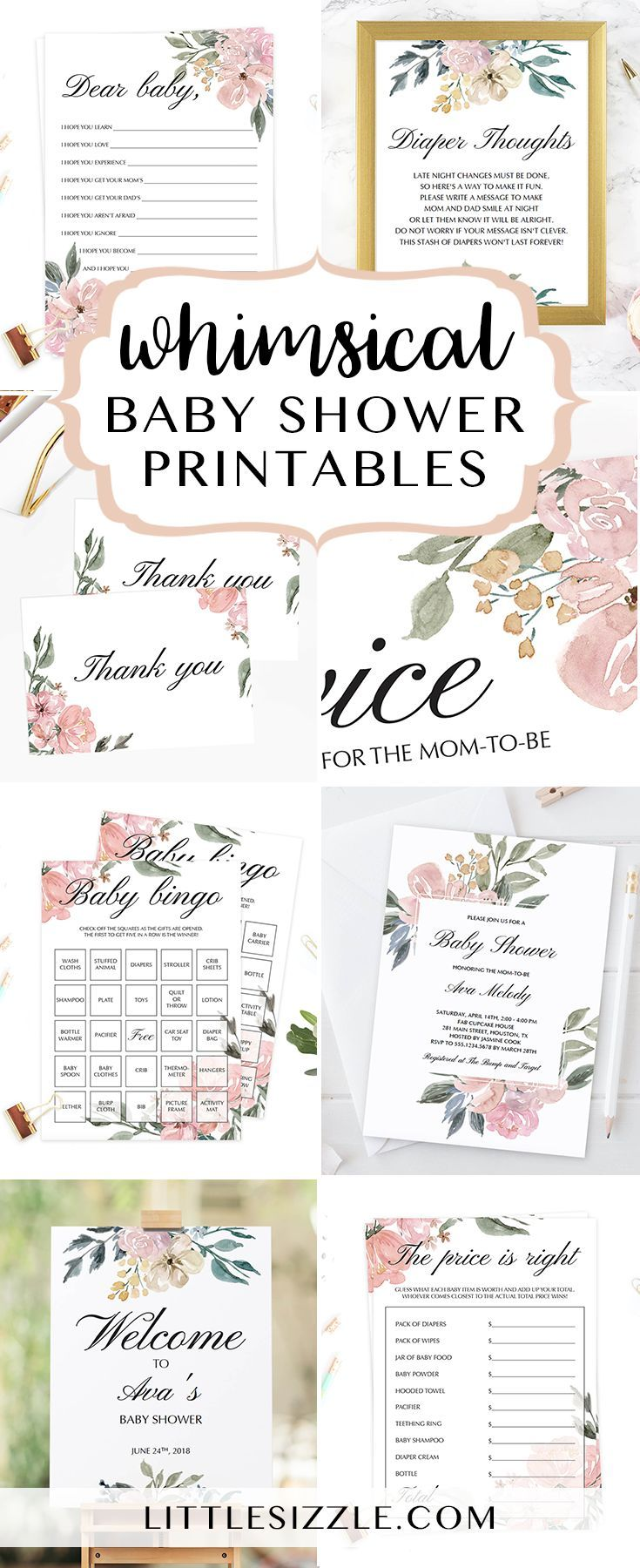 Whimsical baby shower ideas by LittleSizzle. Printable whimsical themed baby shower games, whimsical floral shower invitation templates and printable floral baby shower decor. Whether you are hosting a baby girl shower or a gender neutral baby shower these whimsical inspired baby shower printables with a blend of soft tones and pink floral arrangements will set the tone! #babyshowerthemes #babyshowerideas #DIY #printables #whimsical #floral #babyshowergames #invitationtemplates…