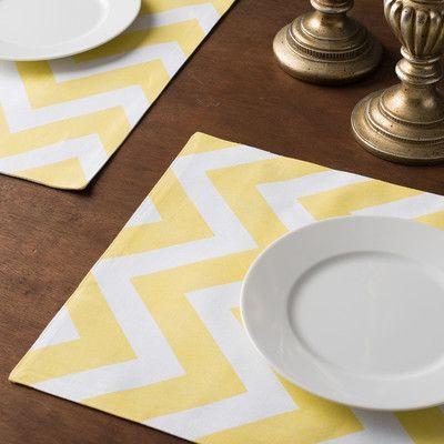 Linen Tablecloth Chevron Placemat Color: Yellow/White