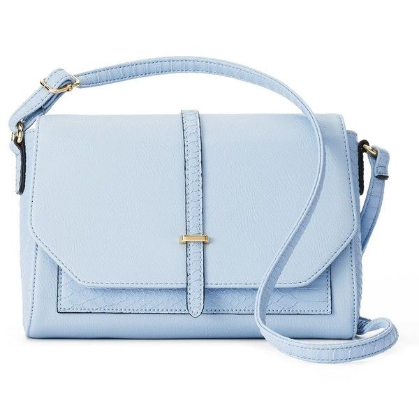 Apt. 9® Cora Snakeskin Mini Crossbody Bag ($20) ❤ liked on Polyvore featuring bags, handbags, shoulder bags, light blue, purse shoulder bag, purse crossbody, handbags shoulder bags, man bag and crossbody purses