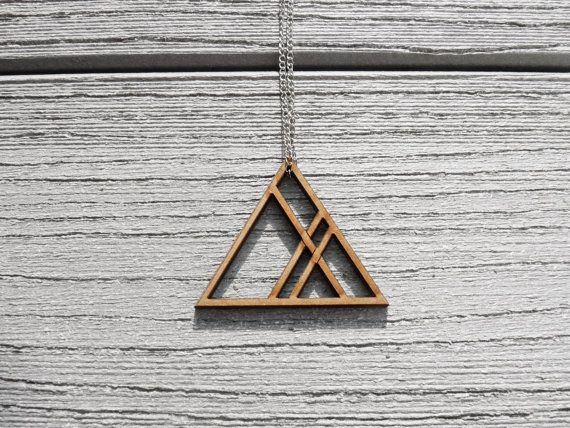 Geometry lasercut mdf triangle necklace, modern very clean cut