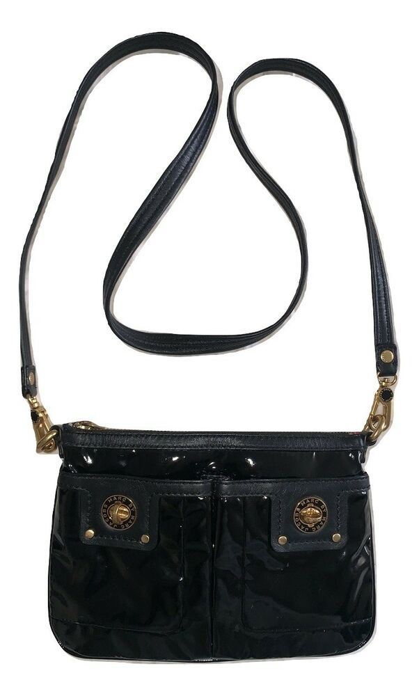 Marc By Marc Jacobs Black Patent Leather Crossbody Bag Marcbymarcjacobs Crossbody Leather Crossbody Bag Black Leather Crossbody Bag Crossbody Bag