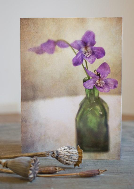 Blank greetings /notecard.   Purple Viola Flowers in Vintage Green Bottle by PaperSnapdragon, £2.00