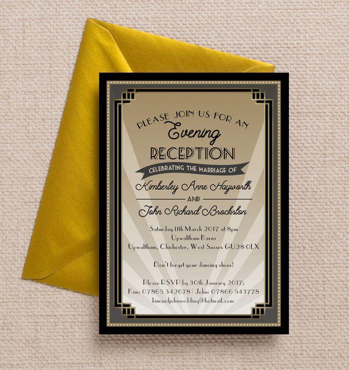61 best beautiful evening wedding reception invitations images on art deco evening reception invitation stopboris Images