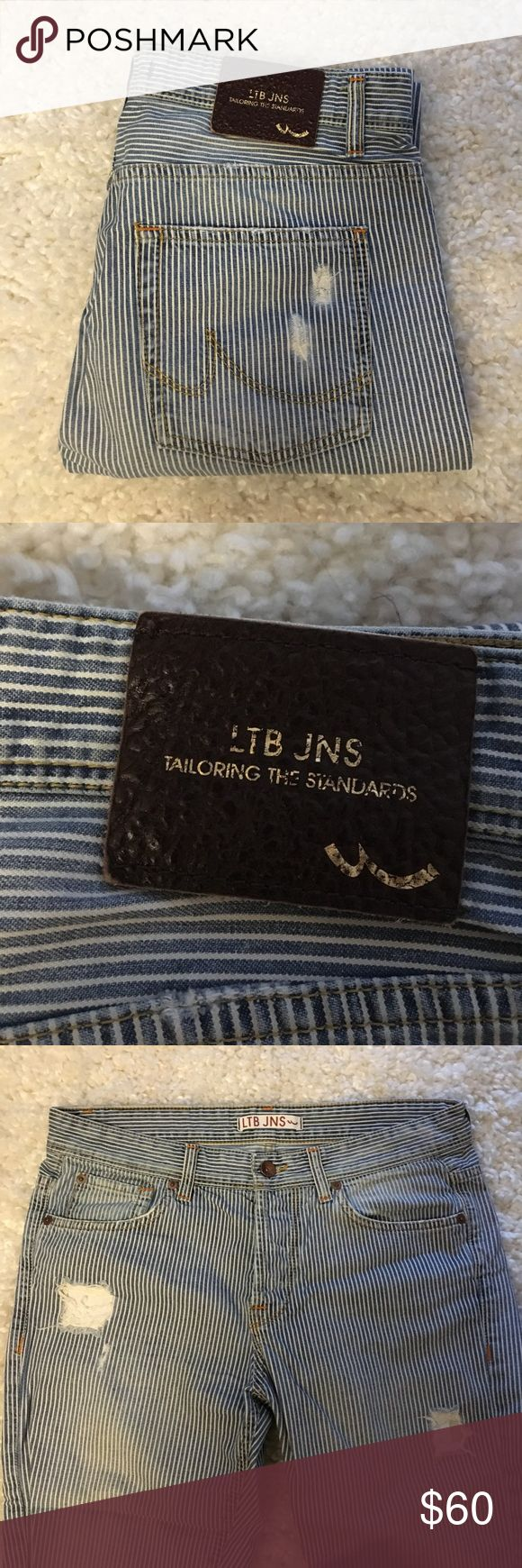 LTB jeans Boyfriend Tailoring the standards 🕶 LTB Jeans white and blue - Boyfriend. So comfortable. One of my favorite jeans ever. Worn but in great shape still. Great material. LTB JNS Jeans Boyfriend