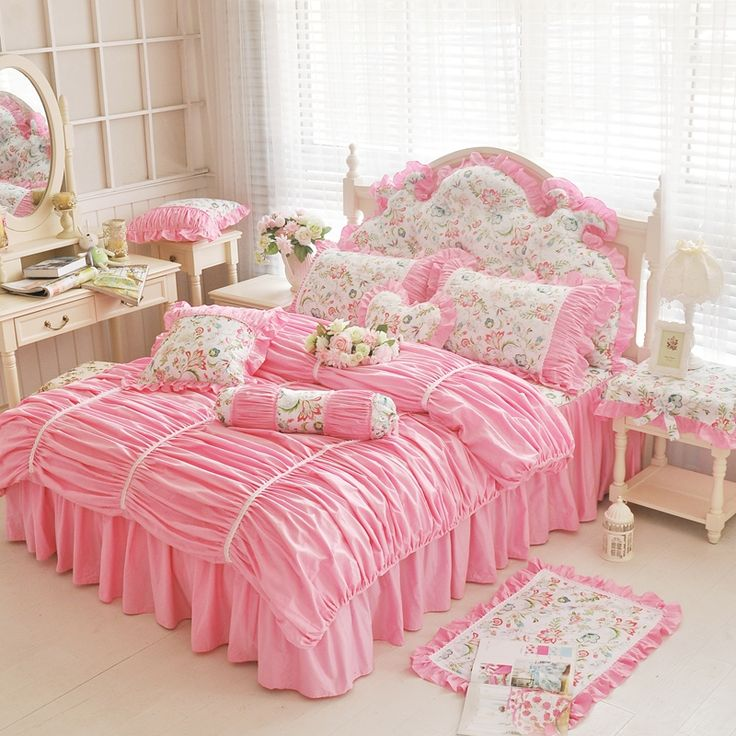 find more information about home girls sweet princess lace bedding 4pcs set kids baby home bedding