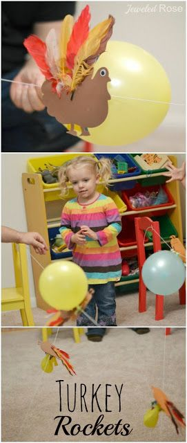 Have turkey races with turkey balloon rockets. A fun Fall activity for kids that explores Science. Who's turkey will win the race?