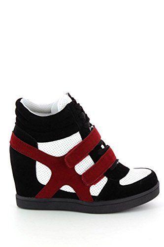 Baskets mode compensées bimatière urban – chaussures femme: Tweet Look urbain et tendance pour ces baskets compensées bimatière en suédine…