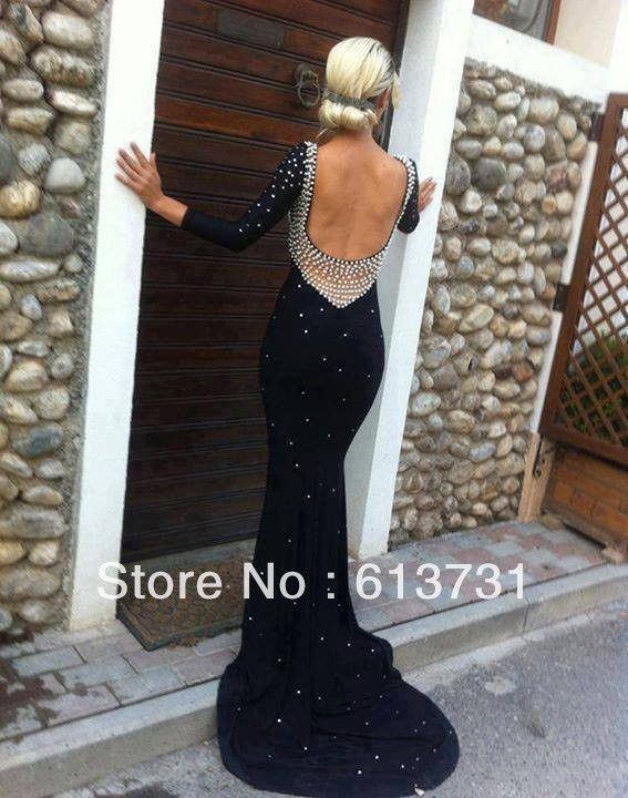 2014 Sexy New Fashion Pearls Black Chiffon Long Sleeves Backless Mermaid Long Prom Dresses Party Evening Elegant Sweep Train $159.00