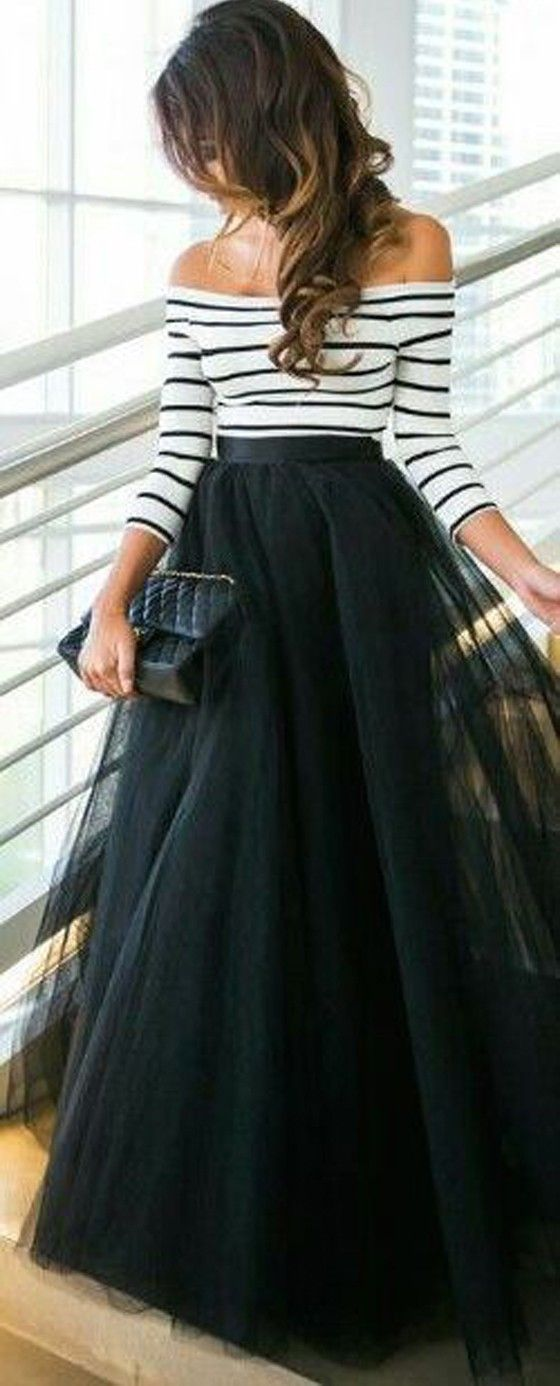 Black Plain Draped Grenadine Puffy Tulle Elastic Waist Fashion Long Tutu Skirt