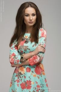Мятное платье длины макси с цветочным принтом и рукавом 3/4 недорого в интернет-магазине 1001DRESS