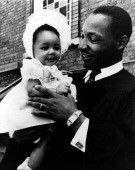 "Dr.King holding his precious daughter Yolanda Denise ""Yoki"" King after Sunday service at Dexter Avenue Baptist Church. Dr.King gave the nickname Yoki or Yoki Pokie"