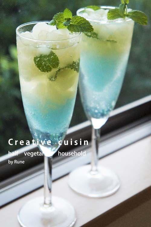 身近なもので☆手軽に作れるカクテル♪グレープフルーツブルーハワイ |Creative cuisin half vegetarian household