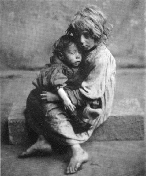 Alone, in the dreary  pitiless street,  With my torn old dress  and bare cold feet,  All day I wandered  to and fro,  Hungry and shivering  and nowhere to go...  Nobody's Child,    A poem by P.H. Case    1867