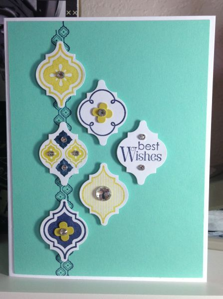 Featuring Stampin' Up's! Mosaic Madness stamp set and Best Wishes with coordinating punch--love it!