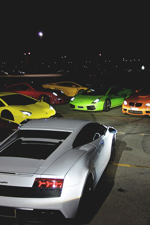 royalindulgence:  Supercar 'Skittles' / Aventador x Gallardos x 911 GT2 x M3 (via… http://johnny-escobar.tumblr.com/post/75265878047