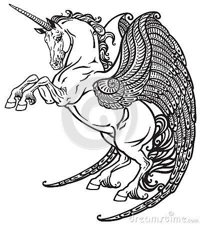 winged-unicorn-black-white-mythological-horse-image-61254403.jpg (400×450)