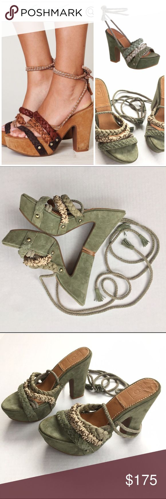 "FP Bacio 61 Pandino Green Suede Platform Sandals 8 Free People Bacio 61's Pandino platform sandal is a must have for your summer boho lazy days.  This retro platform features a green suede platform heel and leather sole, 2"" front platform and a 5"" back heel. Beautiful braided leather ankle straps, and metal stud detailing around the base.  Originally priced at $175. These shoes are like new- no signs of wear!  🎀Search my closet for your size 🎀BUNDLE and SAVE! 🎀REASONABLE offers WELCOME…"