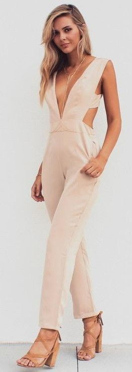 #summer #musthave #outfits |Nude Jumpsuit                                                                             Source