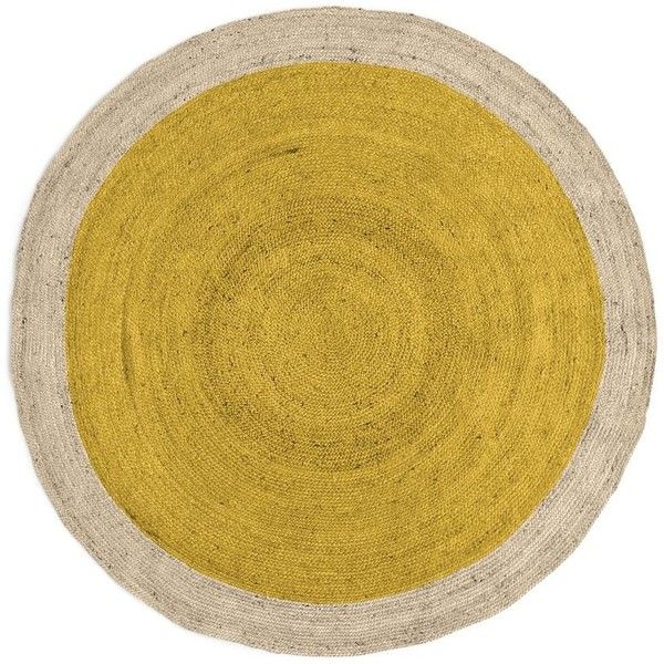 West Elm SPO Bordered Round Jute Rug, 6' Round, Horizon (345 AUD) ❤ liked on Polyvore featuring home, rugs, yellow, border rug, round jute rug, bordered jute rug, jute rug and yellow area rug