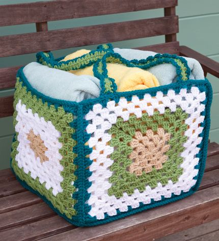 Big Granny Basket  - Stitch up just five super-sized granny squares in chunky yarn to make a functional storage basket or beach tote.