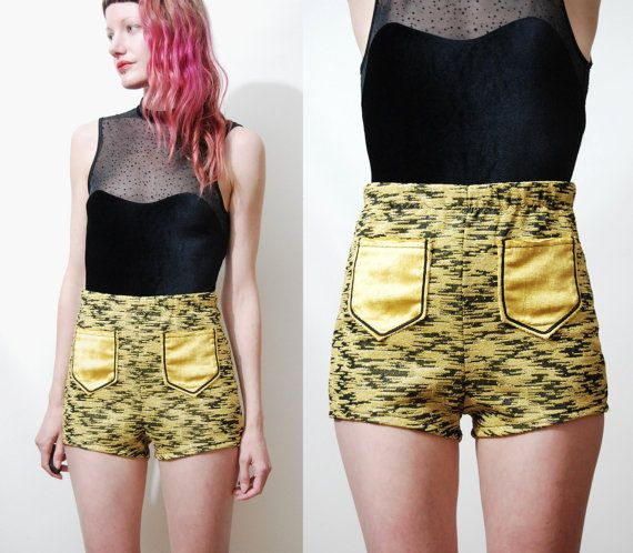 GOLD Metallic SHORTS Handmade Highwaisted Hot Pants by cruxandcrow