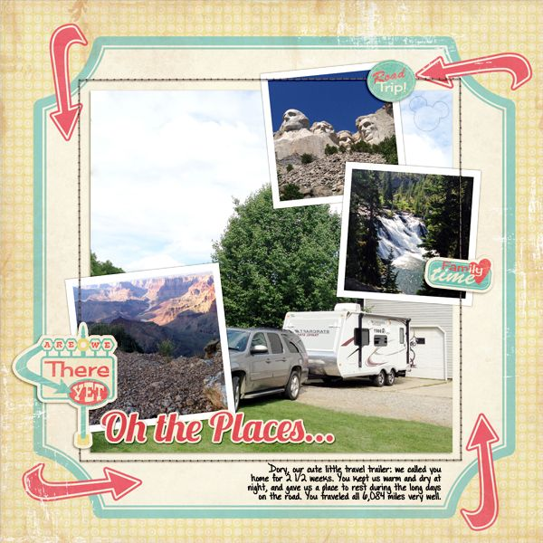 Digital scrapbook layout by designer Claudia Harvey featuring the Retro Road Trip digital kit by Samantha Walker available at www.snapclicksupp... #digitalscrapbooking #snapclicksupply