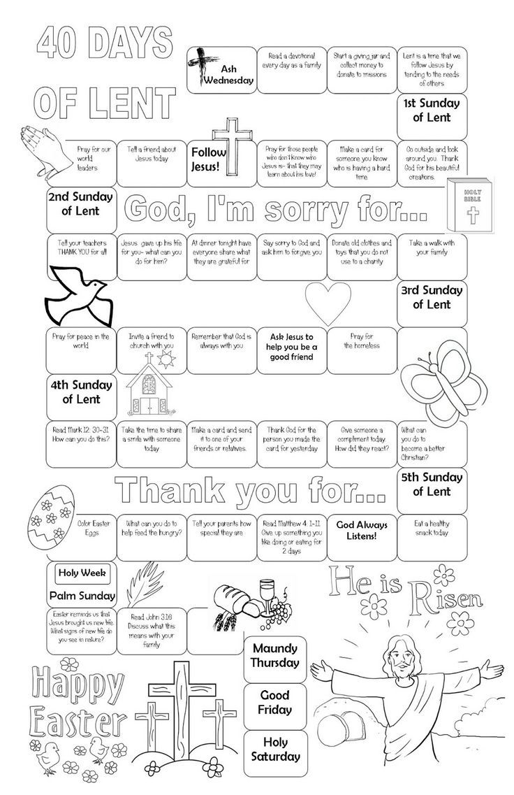 Lenten calendar. Free printable. Kids can color. Stick on your fridge