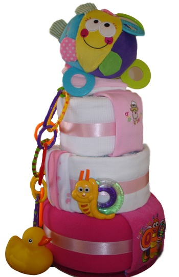 Deluxe Three Tier Cake    $142.00  30 Huggies Newborn Nappies  1 Embroidered singlet - Size 000  1 Baby Bib  1 Ball Teether Toy  1 Aroma Newborn Lavender Botty Balm 100ml  3 Cotton/Polyester Face Washers  1 Pond Snail Teethers  1 My First Patterned Activity Rings  1 Bath Duck  2 White Cotton Muslin Wrap - 120 x 120  1 Polar Fleeced Blanket