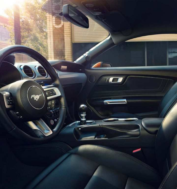 2018 Mustang Interior In Ebony Black With Leather Trimmed Seats
