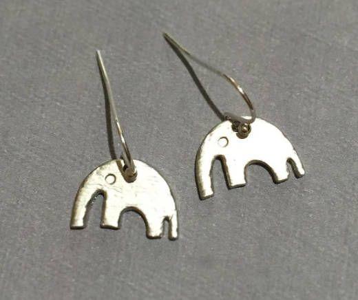 Small Matte Elephant Rhodium Plated over Pewter Earrings, Silver Earrings -Drop Animal Earrings, Bohemian Hobo Style Earrings, Gift Ideas