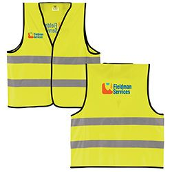 #50043 - Reflective Safety Vest. This 100% polyester vest includes 2 cross stripes designed to reflect oncoming headlights. The safety yellow color is very bright and visible, even during the day, and a hook-and-loop closure keeps the vest in place. For details on how to order this item with your logo branded on it contact ww.fivetwentyfour.ca #promoitems #promoproducts