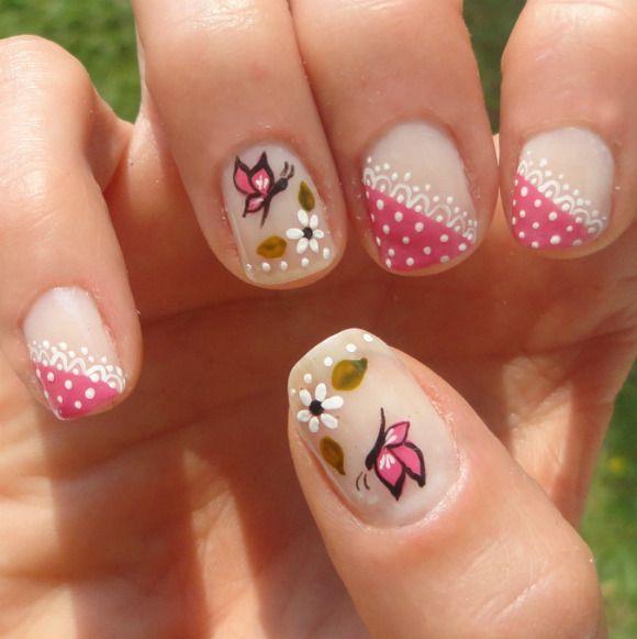Nail art: rosa com rendinha